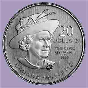 2012 Canada 1/4 oz Silver $20 Queen's Diamond Jubilee