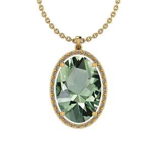 Certified 19.63 Ctw Green Amethyst And Diamond I1/I2 10