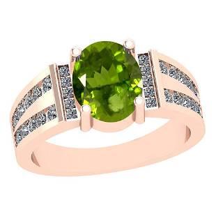 2.68 Ctw I2/I3 Peridot And Diamond 10K Rose Gold Vintag