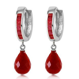 7.8 Carat 14K Solid White Gold Classic Stays Ruby Earri