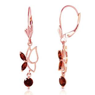 14K Solid Rose Gold Butterfly Earrings with Garnets