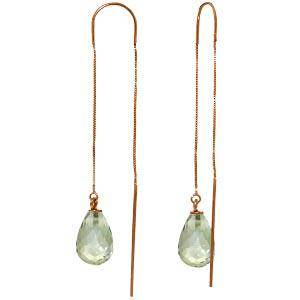 14K Solid Rose Gold Threaded Dangle Earrings with Green