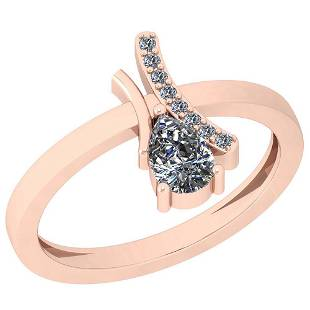 0.56 Ctw Diamond I2/I3 14K Rose Gold Vintage Style Ring