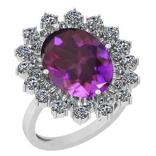 6.14 Ctw Amethyst And Diamond SI2/I1 14k White Gold Vic
