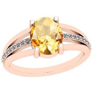 2.61 Ctw Citrine And Diamond I2/I3 10K Rose Gold Vintag