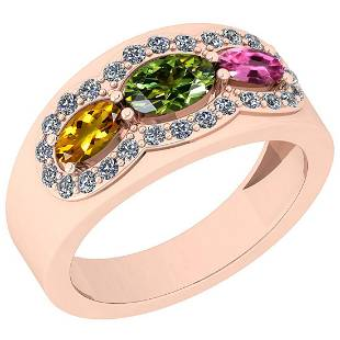 1.08 Ctw I2/I3 Multi Sapphire And Diamond 10K Rose Gold