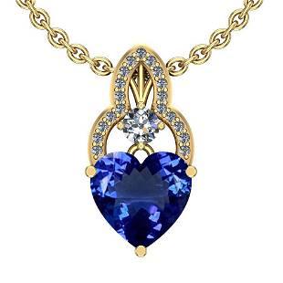 4.26 Ctw SI2/I1 Tanzanite And Diamond Platinum 14K Yell