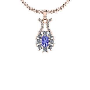 1.50 Ctw I2/I3 Tanzanite And Diamond 14K Rose Gold Neck