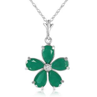 2.22 CTW 14K Solid White Gold Necklace Natural Emerald