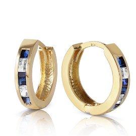 1.26 Carat 14K Solid Gold Hoop Earrings Natural Sapphir