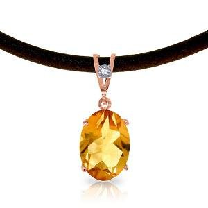 14K Solid Rose Gold & Leather Necklace withDiamond & Ci