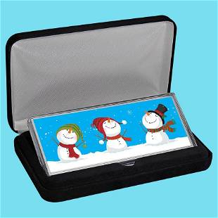 4 oz Silver Colorized Bar - Cheery Snowmen