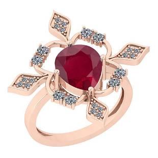 1.62 Ctw Ruby And Diamond I2/I3 14K Rose Gold Vintage S