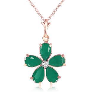 2.22 CTW 14K Solid Rose Gold Necklace Natural Emerald D
