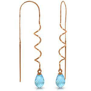 14K Solid Rose Gold Threaded Dangles Earrings with Blue