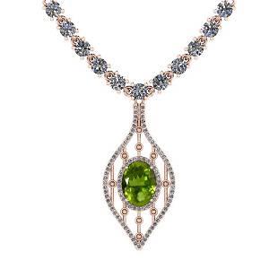 7.20 Ctw Peridot And Diamond I2/I3 14K Rose Gold Pendan