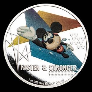 2020 Niue 1 oz Silver $2 Disney Mickey Mouse: Faster &