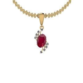 3.05 Ctw Ruby And Diamond SI2/I1 14K Yellow Gold Pendan