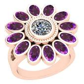 4.00 Ctw Amethyst And Diamond I2/I3 14K Rose Gold Ring
