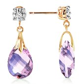 6.06 Carat 14K Solid Gold Stud Earrings Diamond Amethys