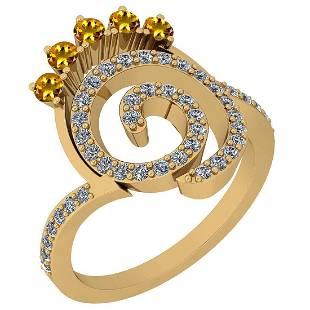 0.96 Ctw VS/SI1 Yellow Sapphire And Diamond 14K Yellow