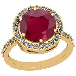 3.99 Ctw Ruby And Diamond SI2/I1 14K Yellow Gold Vintag