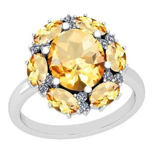 3.41 Ctw Citrine And Diamond I2/I3 14K White Gold Ring