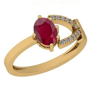 0.82 Ctw Ruby And Diamond I2/I3 14K Yellow Gold Vintage