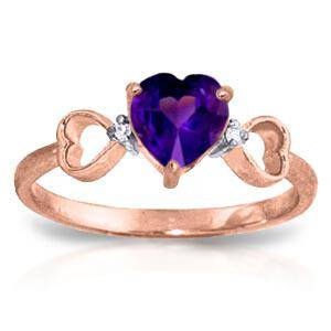 0.96 CTW 14K Solid Rose Gold Tri Heart Amethyst Diamond
