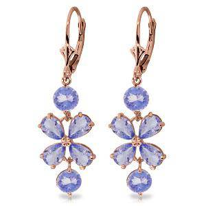 5.32 CTW 14K Solid Rose Gold Tanzanite Flower Earrings