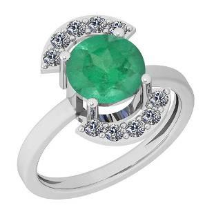 2.35 Ctw VS/SI1 Emerald And Diamond Platinum Ring
