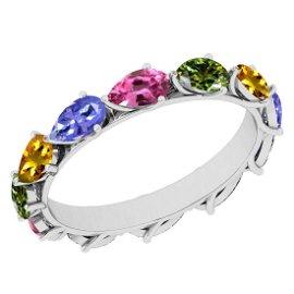 3.00 Ctw I2/I3 Multi Sapphire ,Tanzanite Style Prong Se