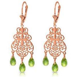 3.75 CTW 14K Solid Rose Gold Peridot Filigree Earrings