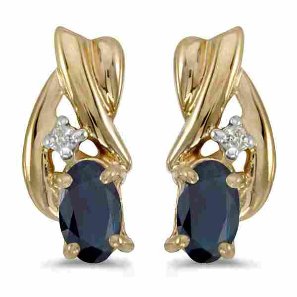 10k Yellow Gold Oval Sapphire And Diamond Earrings 0.52