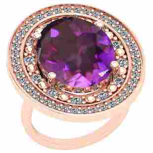 12.54 Ctw Amethyst And Diamond SI2/I1 14k Rose Gold Vic