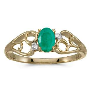 10k Yellow Gold Oval Emerald And Diamond Ring 0.33 CTW