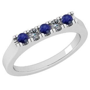 0.34 Ctw SI2/I1 Blue Sapphire And Diamond 14K White Gol