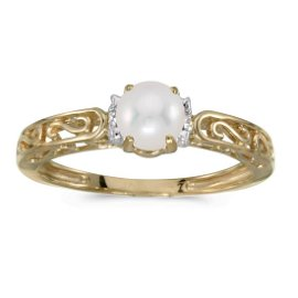 10k Yellow Gold Pearl And Diamond Ring 0.01 CTW