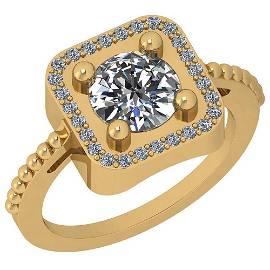 1.46 Ctw Diamond I2/I3 14K Yellow Gold Vintage Style Ri