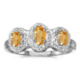 14k White Gold Oval Citrine And Diamond Three Stone Rin