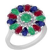 2.86 Ctw I2/I3 Emerald,Ruby,Blue Sapphire And Diamond 1