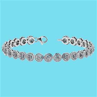 Certified 4.59 Ctw SI1/I2 Diamond 18K White Gold Bracel