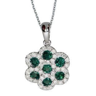 14k White Gold Round Emerald Flower Pendant