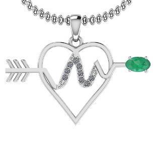 0.57 Ctw VS/SI1 Emerald And Diamond Platinum Pendant
