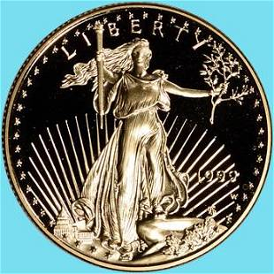 1999-W Gold Eagle Proof 1/2 oz $25 - Coin in Capsule