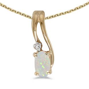 14k Yellow Gold Oval Opal And Diamond Wave Pendant
