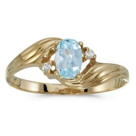 10k Yellow Gold Oval Aquamarine And Diamond Ring 0.31 C