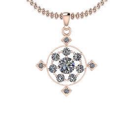 1.05 Ctw Diamond I2/I3 14K Rose Gold Vintage Style Pend