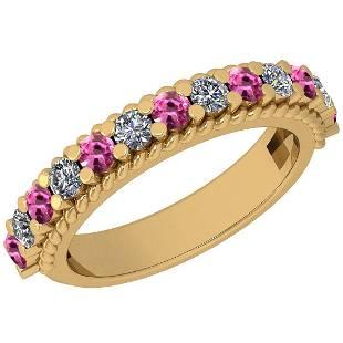 0.96 Ctw VS/SI1 Pink Sapphire And Diamond 14K Yellow Go