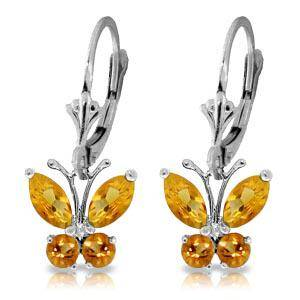 1.24 CTW 14K Solid White Gold Butterfly Earrings Citrin